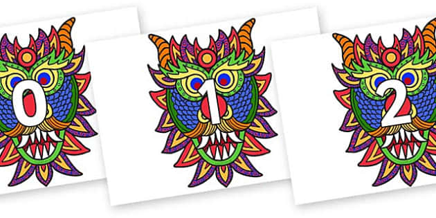 Numbers 0-31 on Chinese New Year Dragon Mask - 0-31, foundation stage numeracy, Number recognition, Number flashcards, counting, number frieze, Display numbers, number posters
