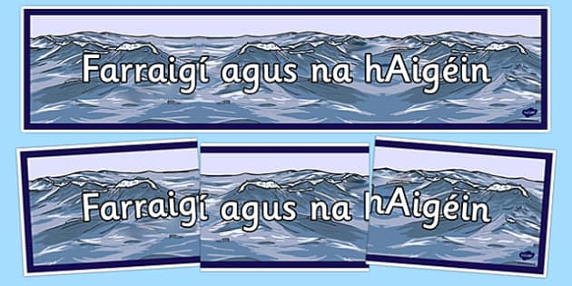 Irish Seas and Oceans Banner Gaeilge -  EAL, translated, Ireland, geography