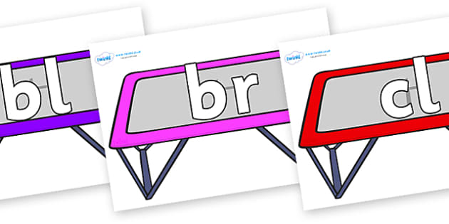 Initial Letter Blends on Trampolines - Initial Letters, initial letter, letter blend, letter blends, consonant, consonants, digraph, trigraph, literacy, alphabet, letters, foundation stage literacy