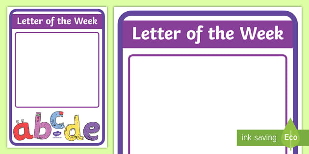 Letter of the Week A4 Display Poster - New Zealand Class Management, letter of the week, display