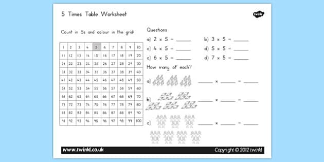5 Times Table Worksheet - australia, 5, times table, worksheet