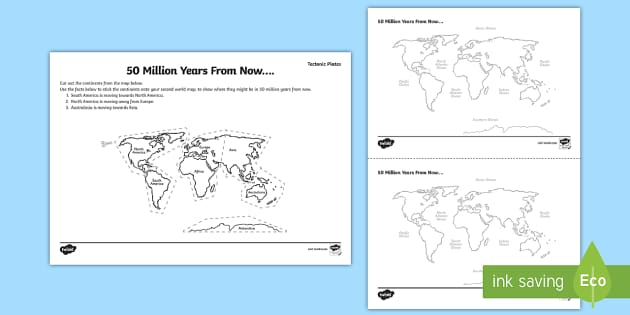 Tectonic Plates 50 Million Years from Now Activity Sheet - tectonic plates, 50 million years, worksheet