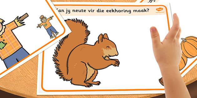 Afrikaans Autumn Playdough Mats - afrikaans, autumn, playdough