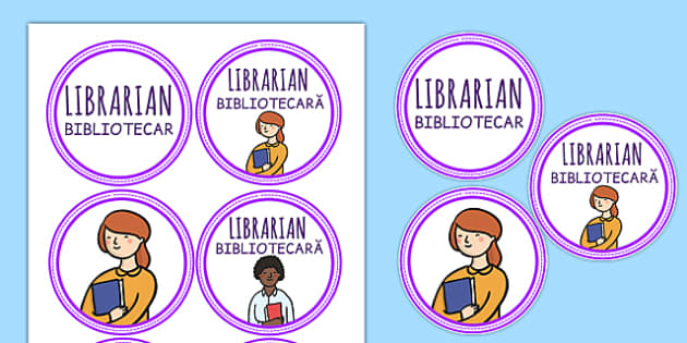 Librarian Role Play Badges Romanian Translation - romanian, library, roleplay, props, reading