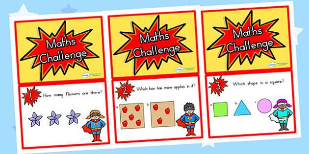 Reception Maths Challenge Cards - reception, reception maths