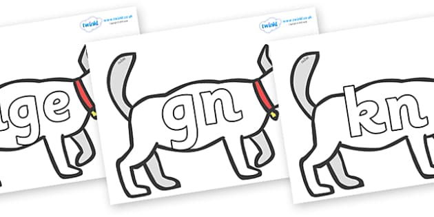 Silent Letters on White Dog to Support Teaching on Brown Bear, Brown Bear - Silent Letters, silent letter, letter blend, consonant, consonants, digraph, trigraph, A-Z letters, literacy, alphabet, letters, alternative sounds