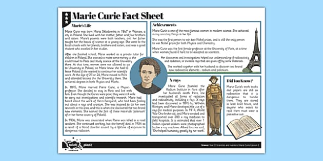 Marie Curie Fact Sheet - radiation, x rays, bones, skeleton, marie curie, fact sheet