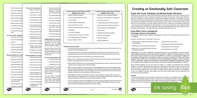Creating an Emotionally Safe Classroom Guide - SEN Friendly Classrooms in Key Stage 3, SEN, behaviour, achievement, emotions