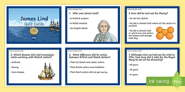 James Lind Quiz Cards