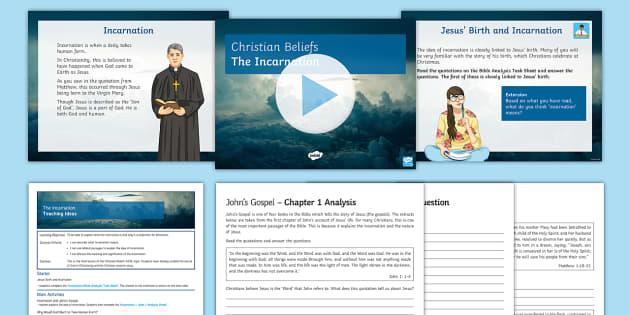 Incarnation Lesson Pack - Christianity; Incarnation; Trinity; God; Jesus