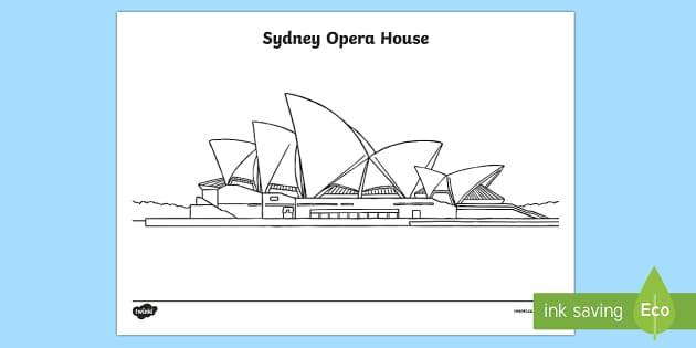 Sydney Opera House Colouring Page-Australia - Sydney Australia,Australia