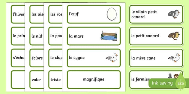 Le vilain petit canard Cartes de vocabulaire