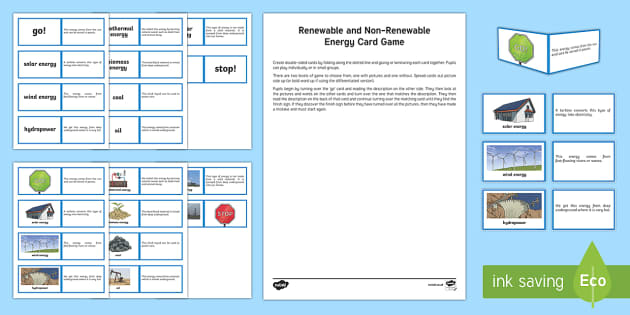 Energy Card Game-Scottish - CfE science, renewable energy, non-renewable energy, science games, science cards,Scottish