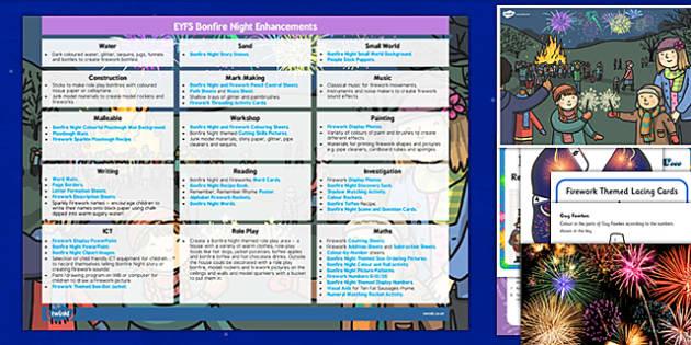 EYFS Bonfire Night Enhancement Ideas and Resources Pack - eyfs, bonfire night, enhancement, ideas