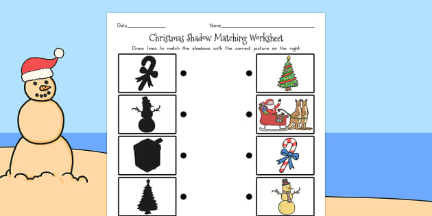 Christmas Shadow Matching Worksheet - australia, christmas, sheet