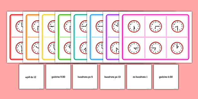Gra bingo Czas po polsku - godzina, zegar, gra, zabawa - polish, Mixed time bingo, time game, Time resource, Time vocabulary, clock face, Oclock, half past, quarter past, quarter to, shapes spaces measures