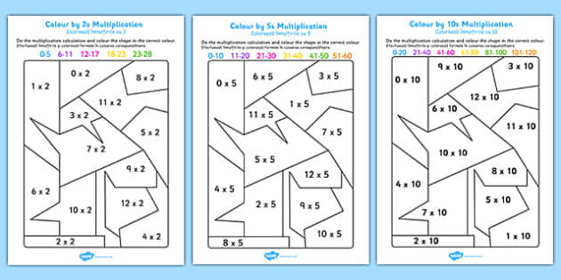 Colour by 2s, 5s, 10s Multiplication Romanian Translation - romanian