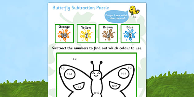 Butterfly Subtraction Puzzle (0-10) - Minibeasts - minibeast investigation, subtraction, minus, maths game, math, butterfly, minibeasts, Minibeasts, Topic, Foundation stage, knowledge and understanding of the world, investigation, living things,