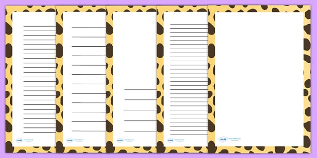 Cheetah Print Page Borders - writing templates, writing frames