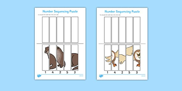 Nocturnal Animals Number Sequencing Puzzle - nocturnal, animals, number sequencing, puzzle