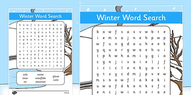 Winter Wordsearch - wordsearch, word search, words, winter, winter wordsearch activity, word game, games, literacy, wet play