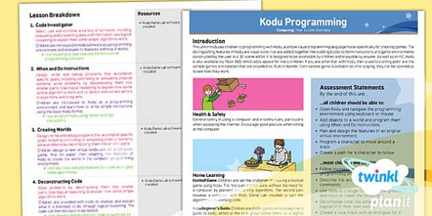 PlanIt - Computing Year 6 - Kodu Programming Planning Overview