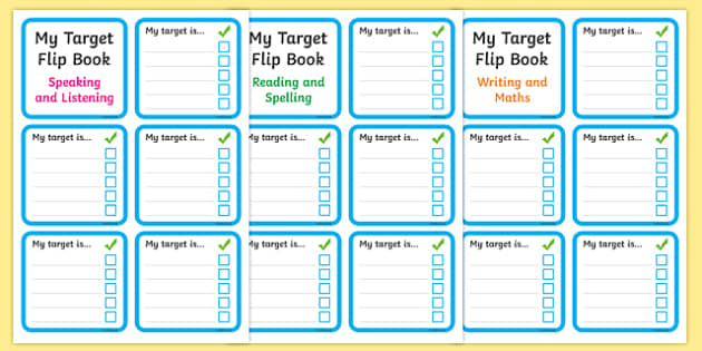 Personal Target Flip Book - Target, flip book, my targets, aims, goals, personal targets