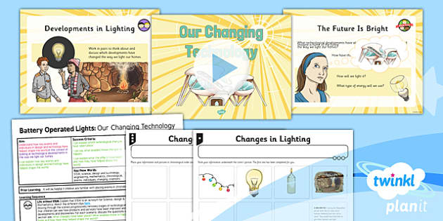PlanIt - DT LKS2 - Battery Operated Lights Unit Lesson 1: Our Changing Technologies Lesson Pack - switches, series circuits, electrical systems, bulbs