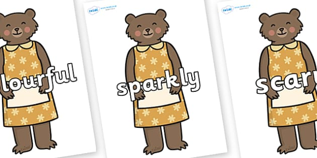 Wow Words on Mummy Bear - Wow words, adjectives, VCOP, describing, Wow, display, poster, wow display, tasty, scary, ugly, beautiful, colourful sharp, bouncy