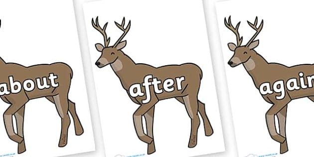 KS1 Keywords on Stags - KS1, CLL, Communication language and literacy, Display, Key words, high frequency words, foundation stage literacy, DfES Letters and Sounds, Letters and Sounds, spelling
