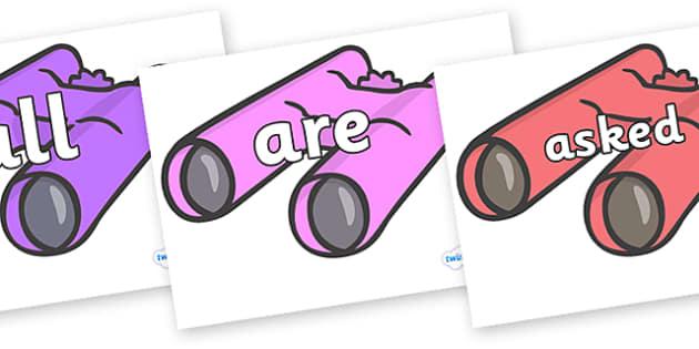 Tricky Words on Binoculars - Tricky words, DfES Letters and Sounds, Letters and sounds, display, words