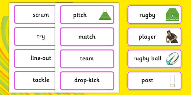 Rio 2016 Olympics Rugby Word Cards - rio olympics, 2016 olympics, rio 2016, rugby, word cards