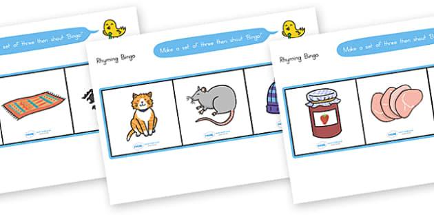 Rhyming Bingo Set - rhyme, bingo, game, literacy, lotto, poem