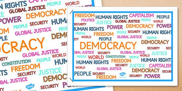 Democracy Word Poster - democracy, word, poster, display, word poster, ks2