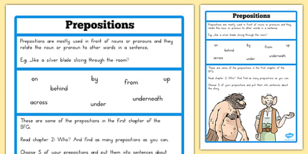 Preposition Challenge Activity to Support Teaching on The BFG - australia, bfg, preposition