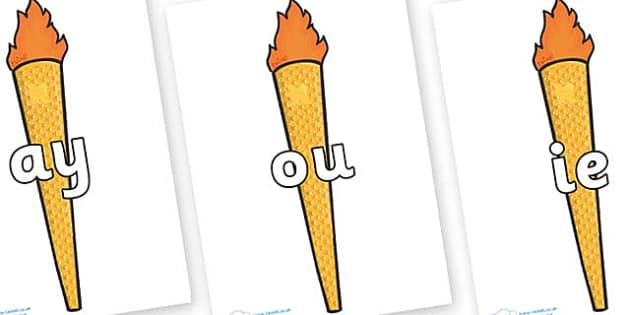 Phase 5 Phonemes on Olympic Torches - Phonemes, phoneme, Phase 5, Phase five, Foundation, Literacy, Letters and Sounds, DfES, display