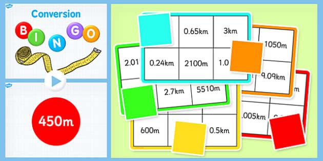 Conversion Bingo M and KM - Conversion, Bingo, game, numbers