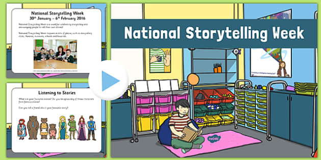 National Storytelling Week PowerPoint - EYFS, Literacy, event, stories, Book Week, World Book Day, KS1