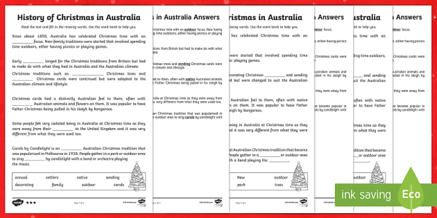History of Christmas in Australia Differentiated Cloze Activity-Australia - Christmas Australia, history, celebrations, Christmas, Australia,Australia