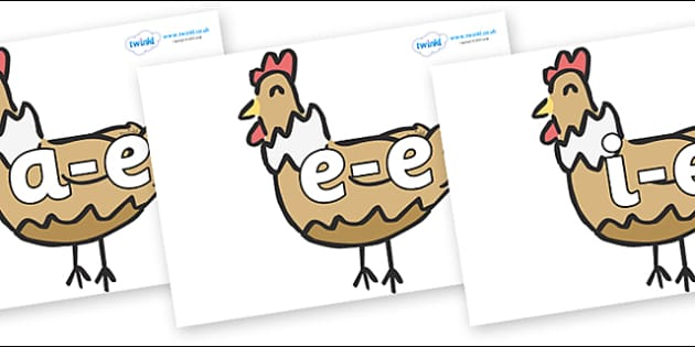 Modifying E Letters on French Hens - Modifying E, letters, modify, Phase 5, Phase five, alternative spellings for phonemes, DfES letters and Sounds