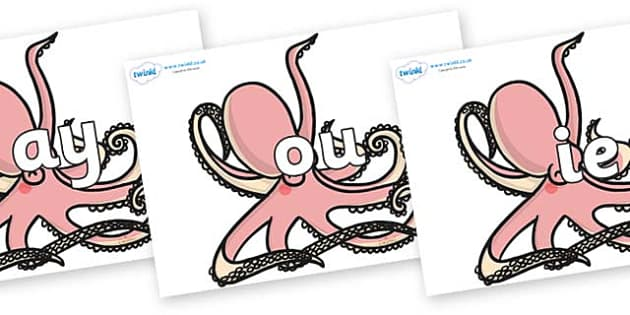 Phase 5 Phonemes on Octopuses - Phonemes, phoneme, Phase 5, Phase five, Foundation, Literacy, Letters and Sounds, DfES, display