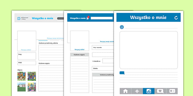 All about me social media profile writing template Polish-Polish