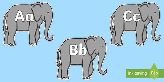 A-Z Alphabet on Elephants to Support Teaching on Elmer - A-Z, A4, display, Alphabet frieze, Display letters, Letter posters, A-Z letters, Alphabet flashcards
