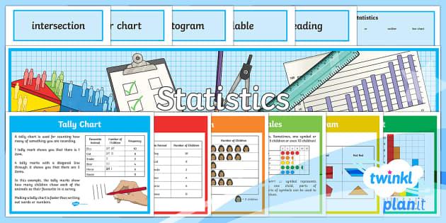 PlanIt Y3 Statistics Display Pack - statistics, data handling, table, tally chart, bar chart, pictogram, Carroll diagram, Venn diagram,