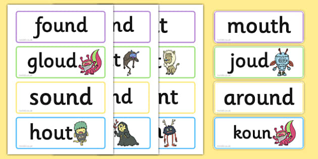 Phase 5 'ou' Flashcards Real and Nonsense Words - phase 5
