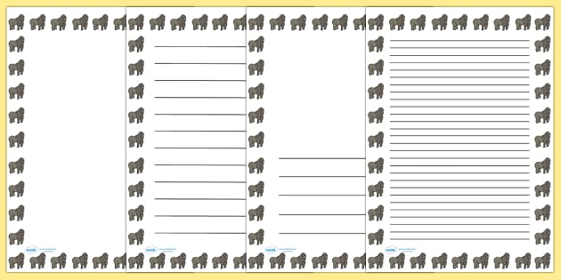Gorilla Portrait Page Borders- Portrait Page Borders - Page border, border, writing template, writing aid, writing frame, a4 border, template, templates, landscape