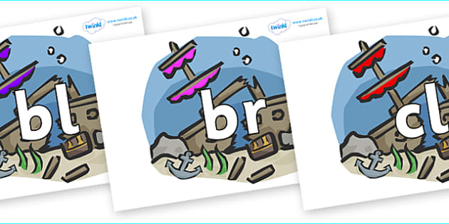 Initial Letter Blends on Ship Wrecks - Initial Letters, initial letter, letter blend, letter blends, consonant, consonants, digraph, trigraph, literacy, alphabet, letters, foundation stage literacy