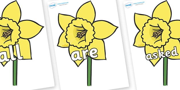 Tricky Words on Daffodils - Tricky words, DfES Letters and Sounds, Letters and sounds, display, words