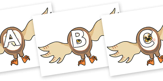 A-Z Alphabet on Hullabaloo Owl to Support Teaching on Farmyard Hullabaloo - A-Z, A4, display, Alphabet frieze, Display letters, Letter posters, A-Z letters, Alphabet flashcards