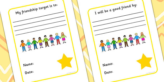 My Friendship Targets And 'I Will Be A Good Friend' Writing Frames - friends